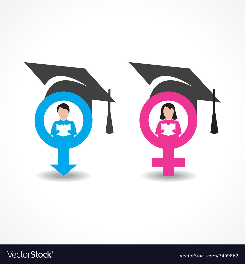 Male and female icons with graduate cap vector | Price: 1 Credit (USD $1)