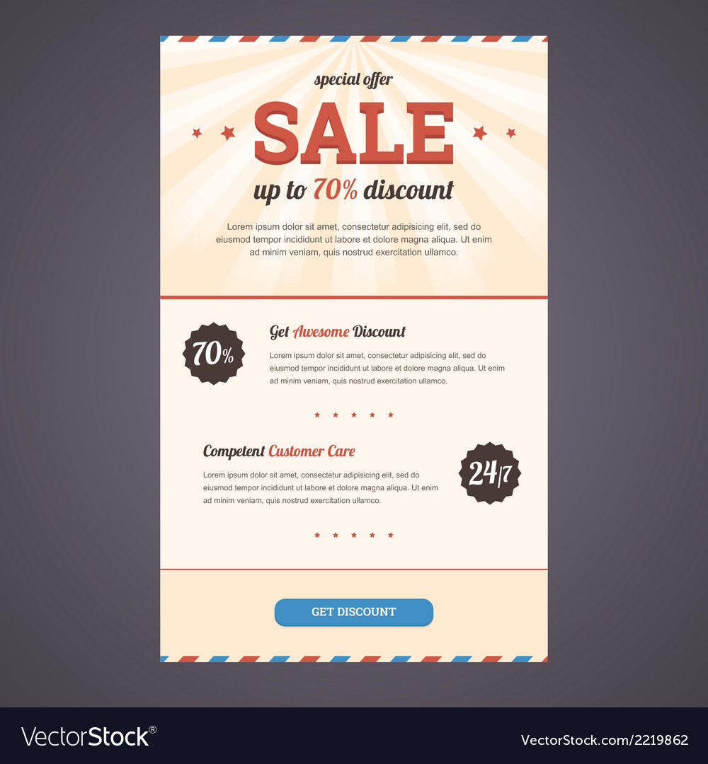 Newsletter template design with discount offer vector | Price: 1 Credit (USD $1)