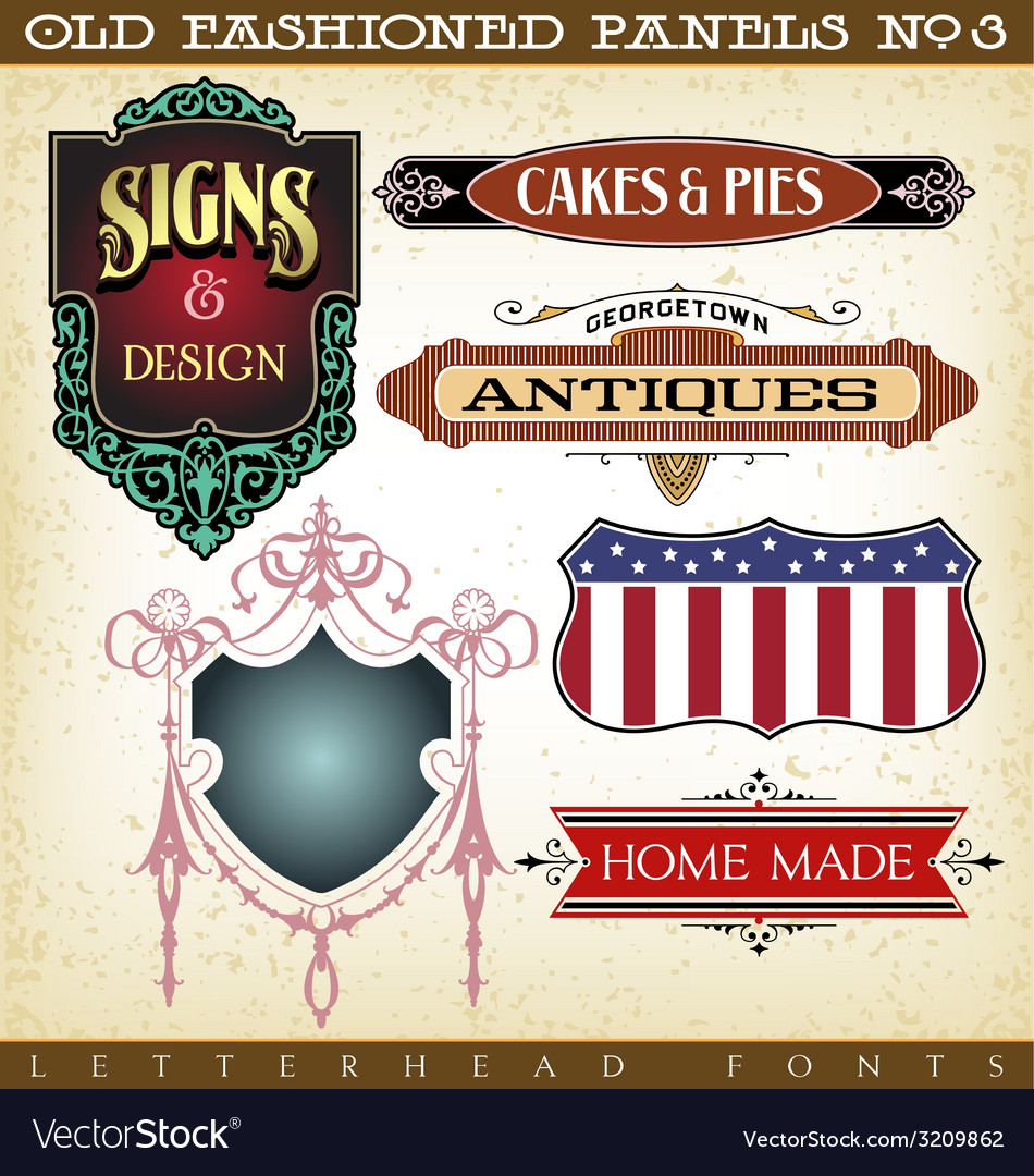 Old fashioned panels vintage labels 3 vector | Price: 1 Credit (USD $1)