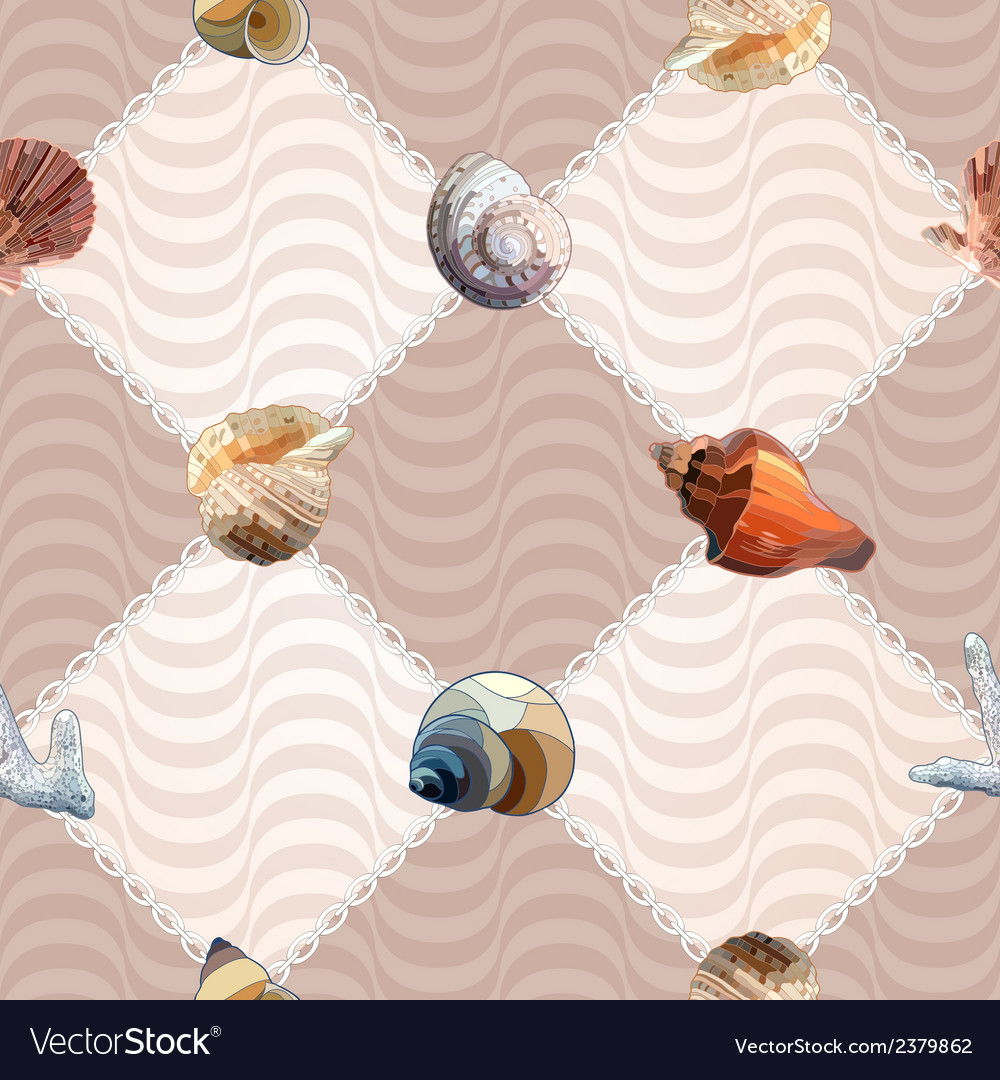 Seamless with sea shells and chains vector | Price: 1 Credit (USD $1)