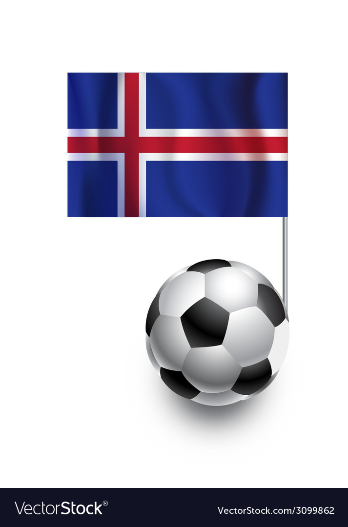 Soccer balls or footballs with flag of iceland vector | Price: 1 Credit (USD $1)