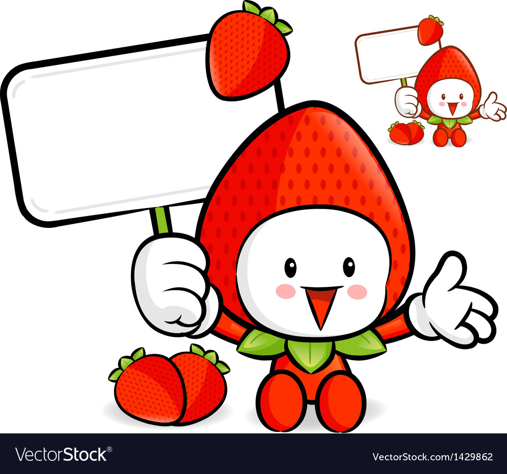 Strawberry mascot the right hand guides and the le vector | Price: 1 Credit (USD $1)