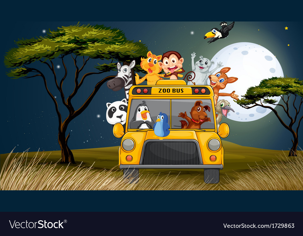 A bus near the trees full of animals vector | Price: 3 Credit (USD $3)