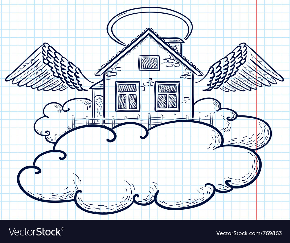 Angel house doodle version vector | Price: 1 Credit (USD $1)