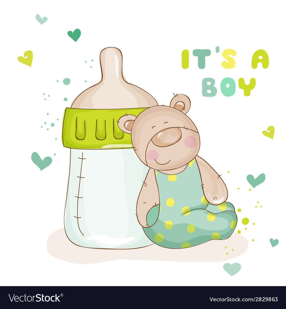 Baby shower or baby arrival cards - cute baby bear vector | Price: 1 Credit (USD $1)