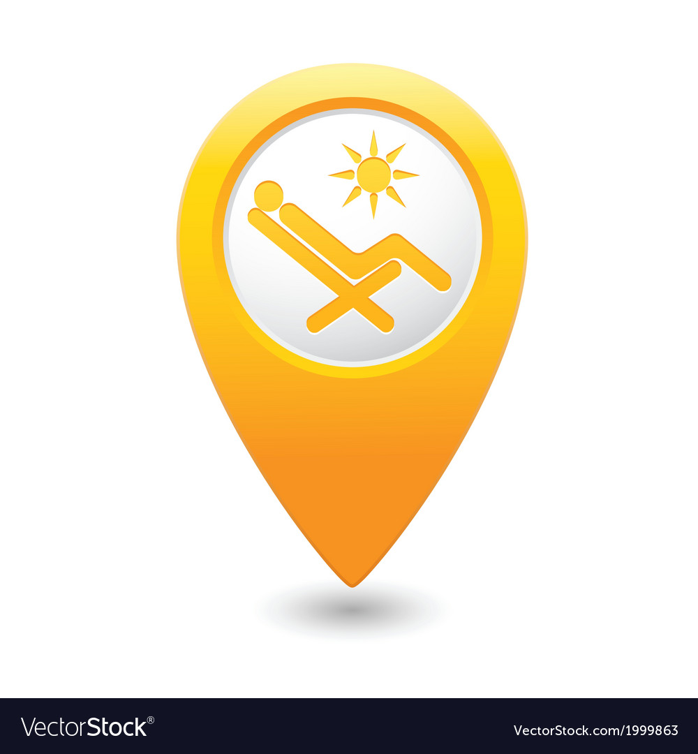 Beach chair icon yellow map pointer vector | Price: 1 Credit (USD $1)