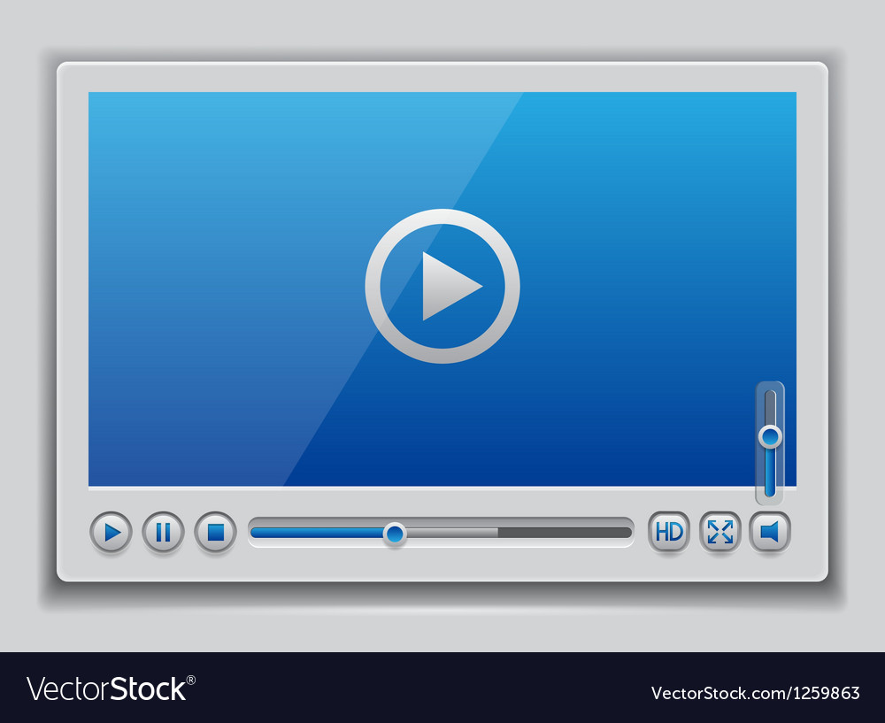 Blue glossy video player template vector | Price: 3 Credit (USD $3)
