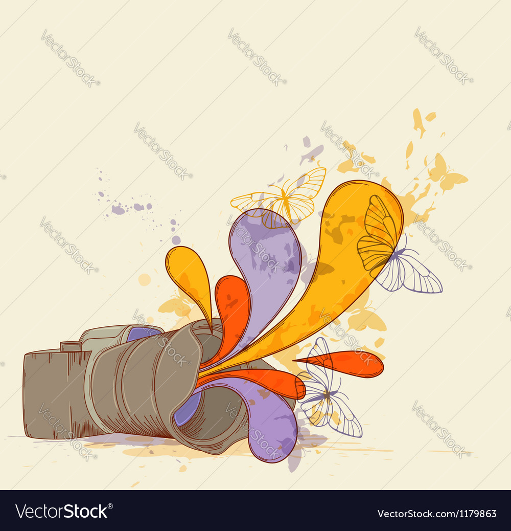Camera and butterflies vector | Price: 3 Credit (USD $3)