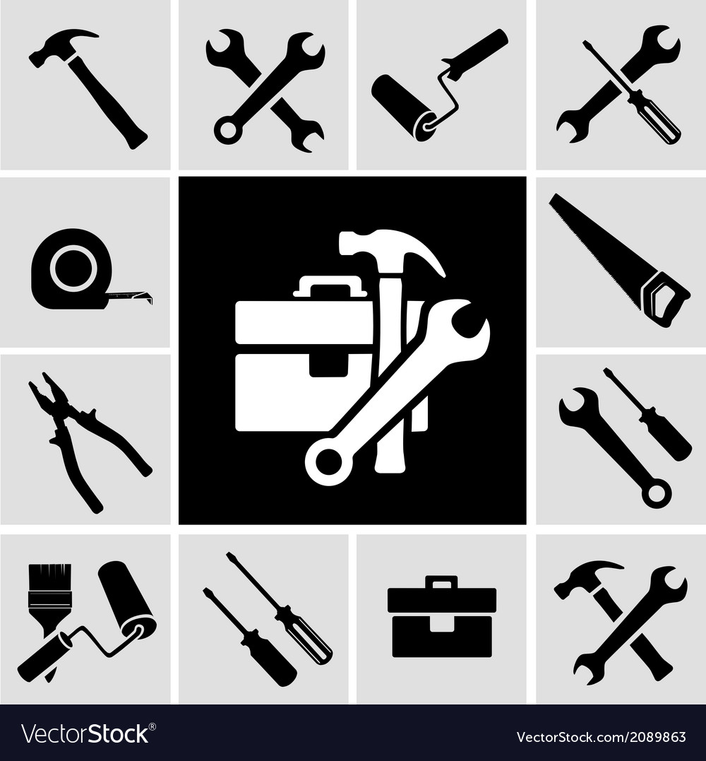 Carpenter tools black icons set vector | Price: 1 Credit (USD $1)