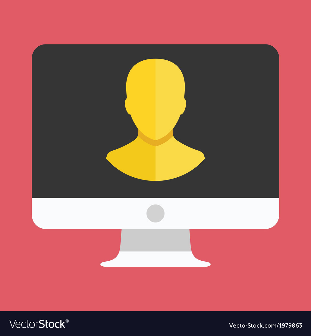 Computer display user icon vector | Price: 1 Credit (USD $1)