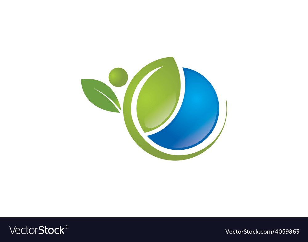 Ecology natural life globe plant people logo vector | Price: 1 Credit (USD $1)
