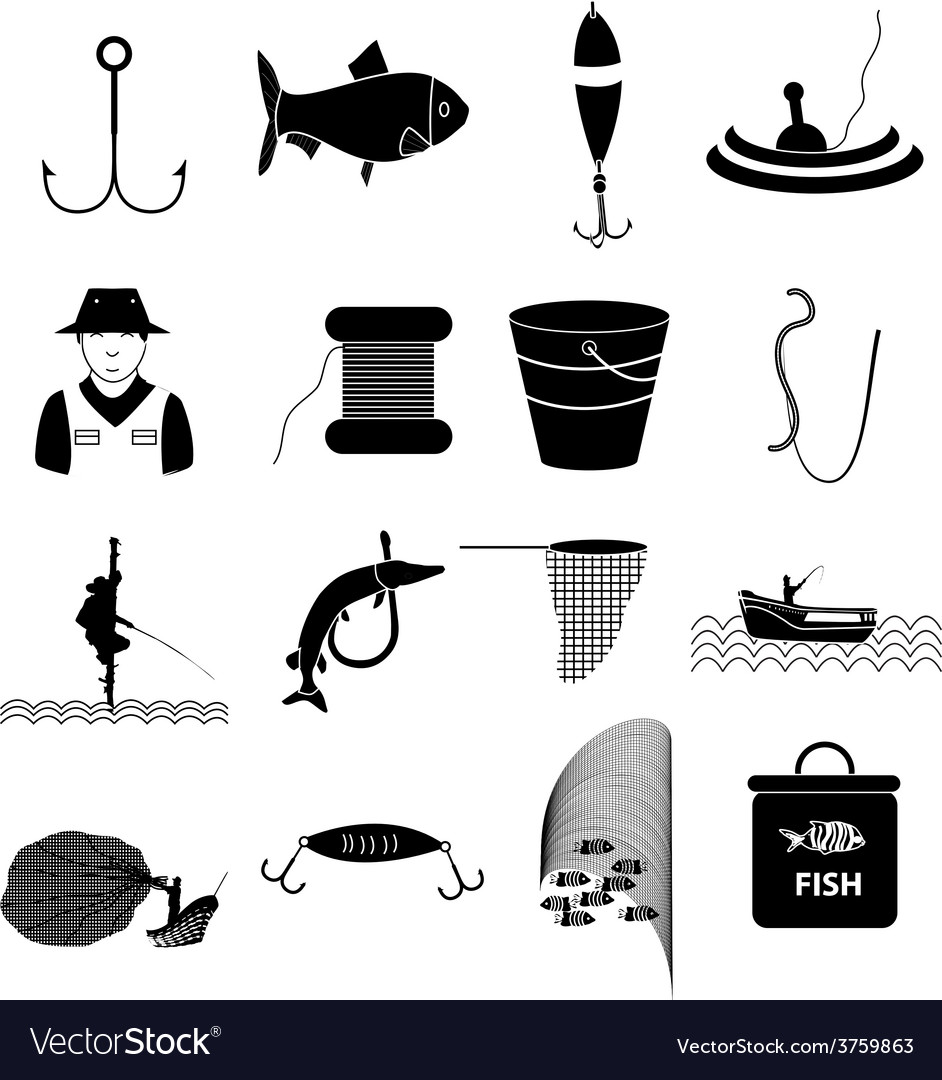 Fishing icons set vector | Price: 3 Credit (USD $3)