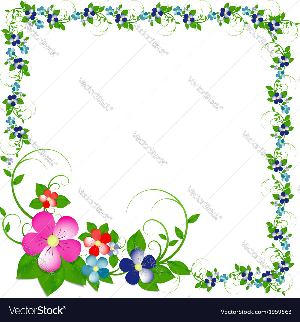 Frame from flowers and leaves vector | Price: 1 Credit (USD $1)