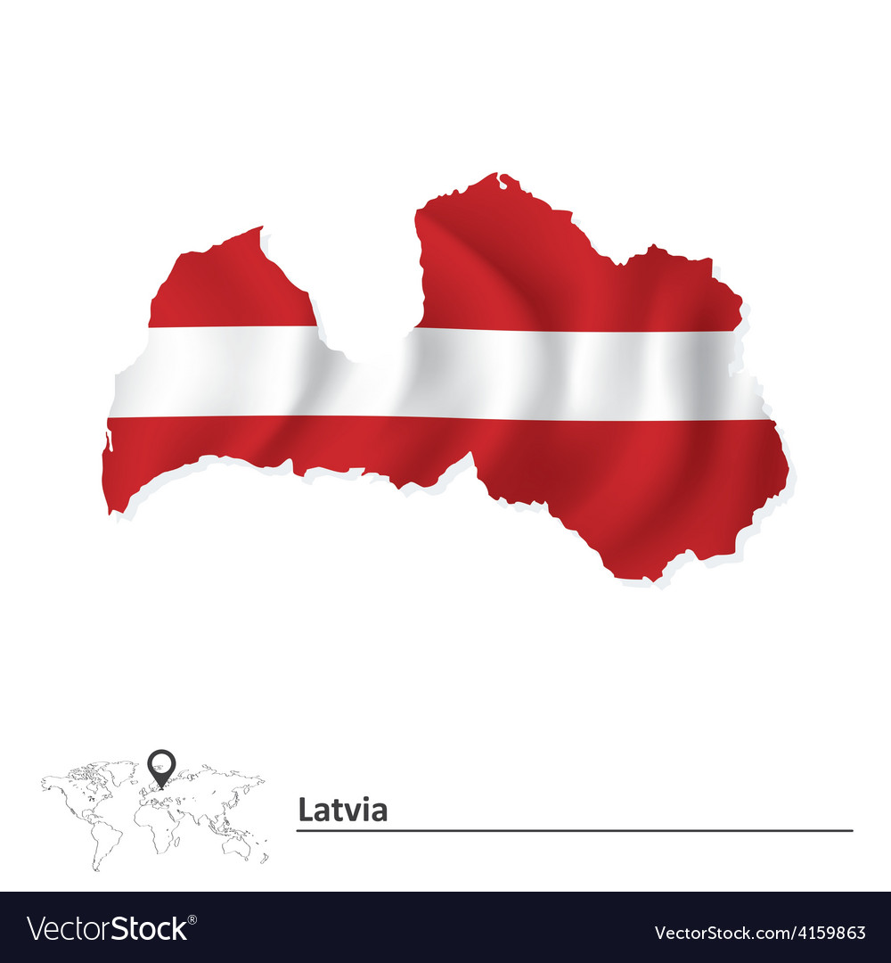 Map of latvia with flag vector | Price: 1 Credit (USD $1)