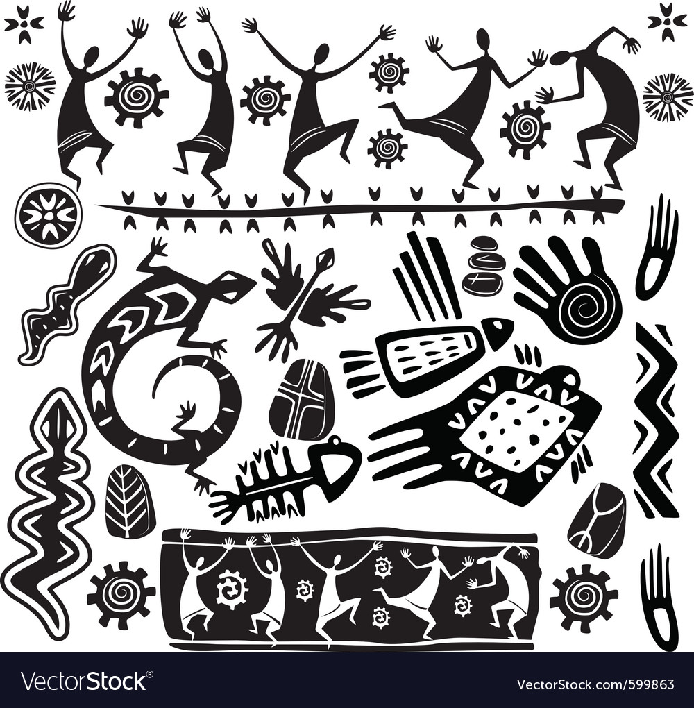 Primitive art design elements vector | Price: 1 Credit (USD $1)