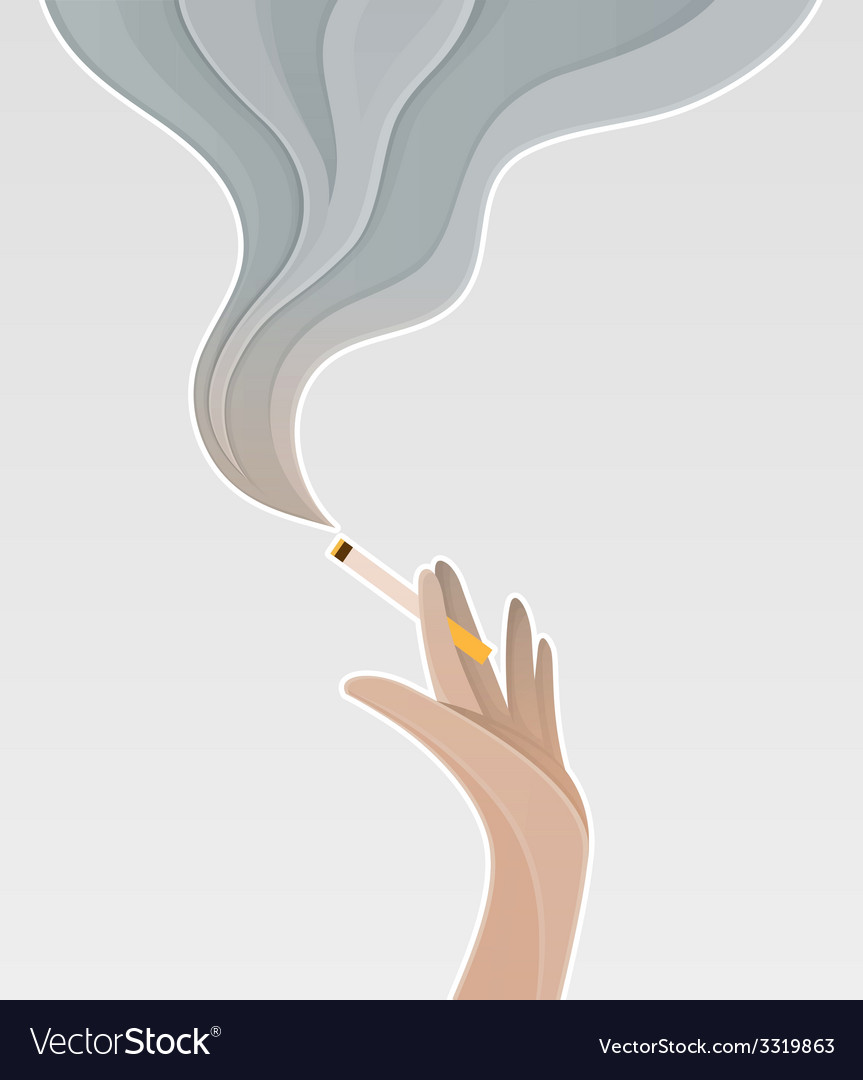Silhouette of the hand holding a cigarette vector | Price: 1 Credit (USD $1)