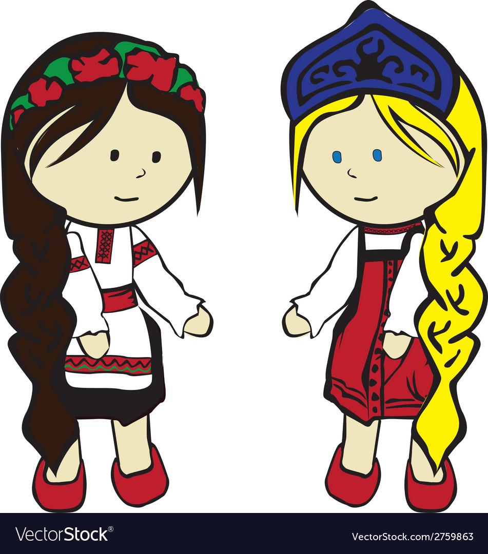 Slavic girls in costumes vector   Price: 1 Credit (USD $1)
