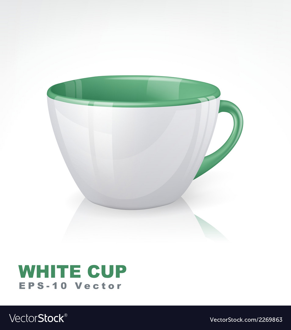 White cup with green elements vector | Price: 1 Credit (USD $1)