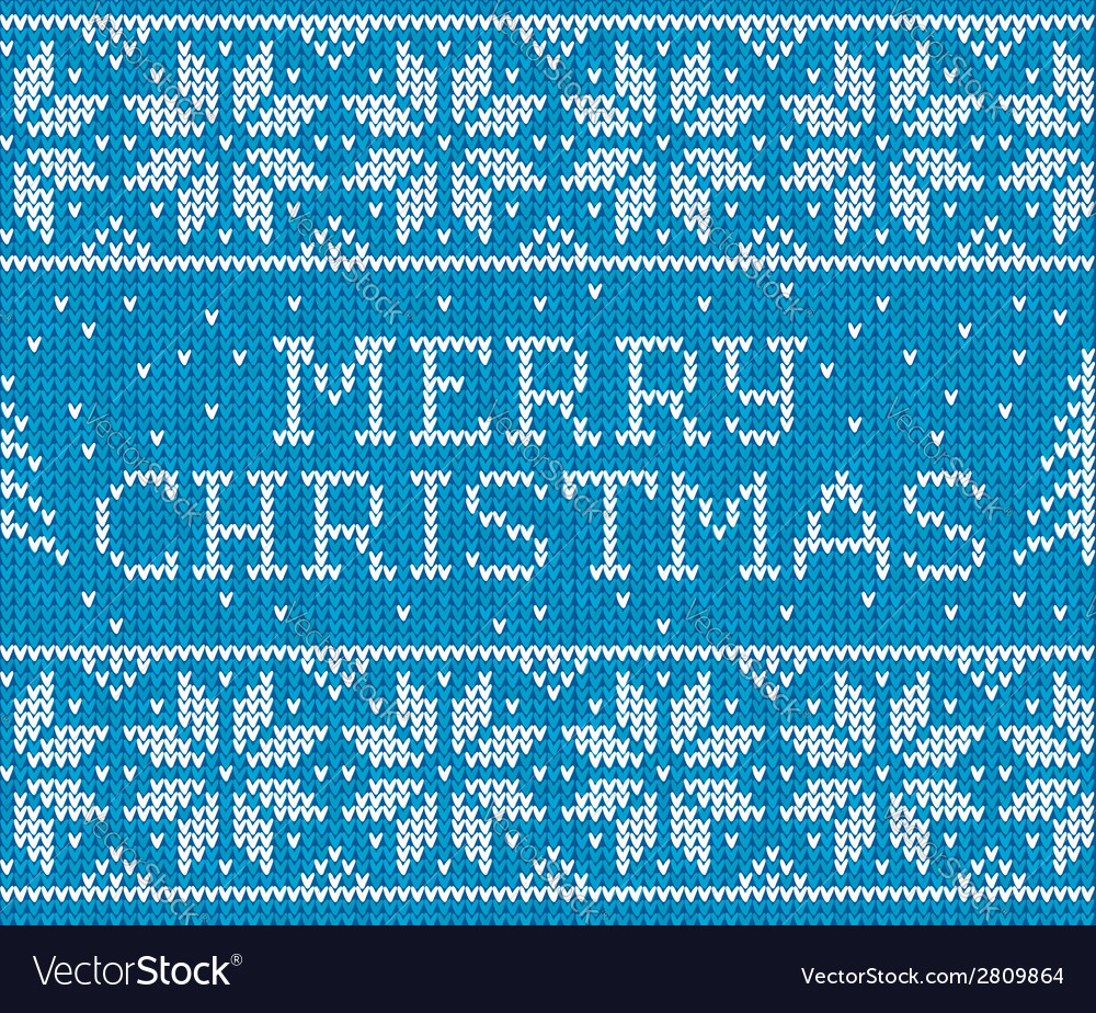 Blue knitted seamless pattern with sign merry vector | Price: 1 Credit (USD $1)