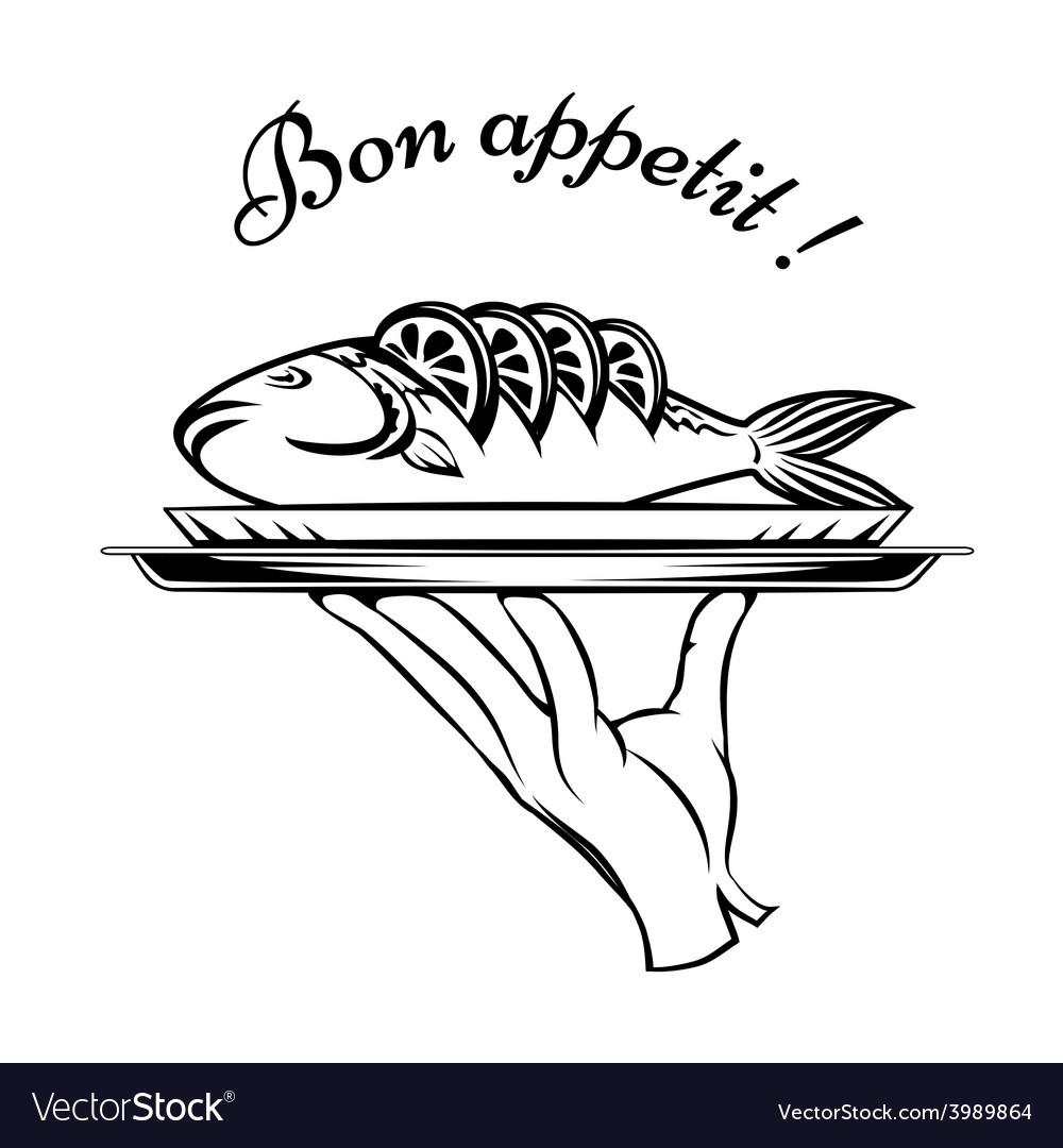 Bon appetit fish design element vector | Price: 1 Credit (USD $1)