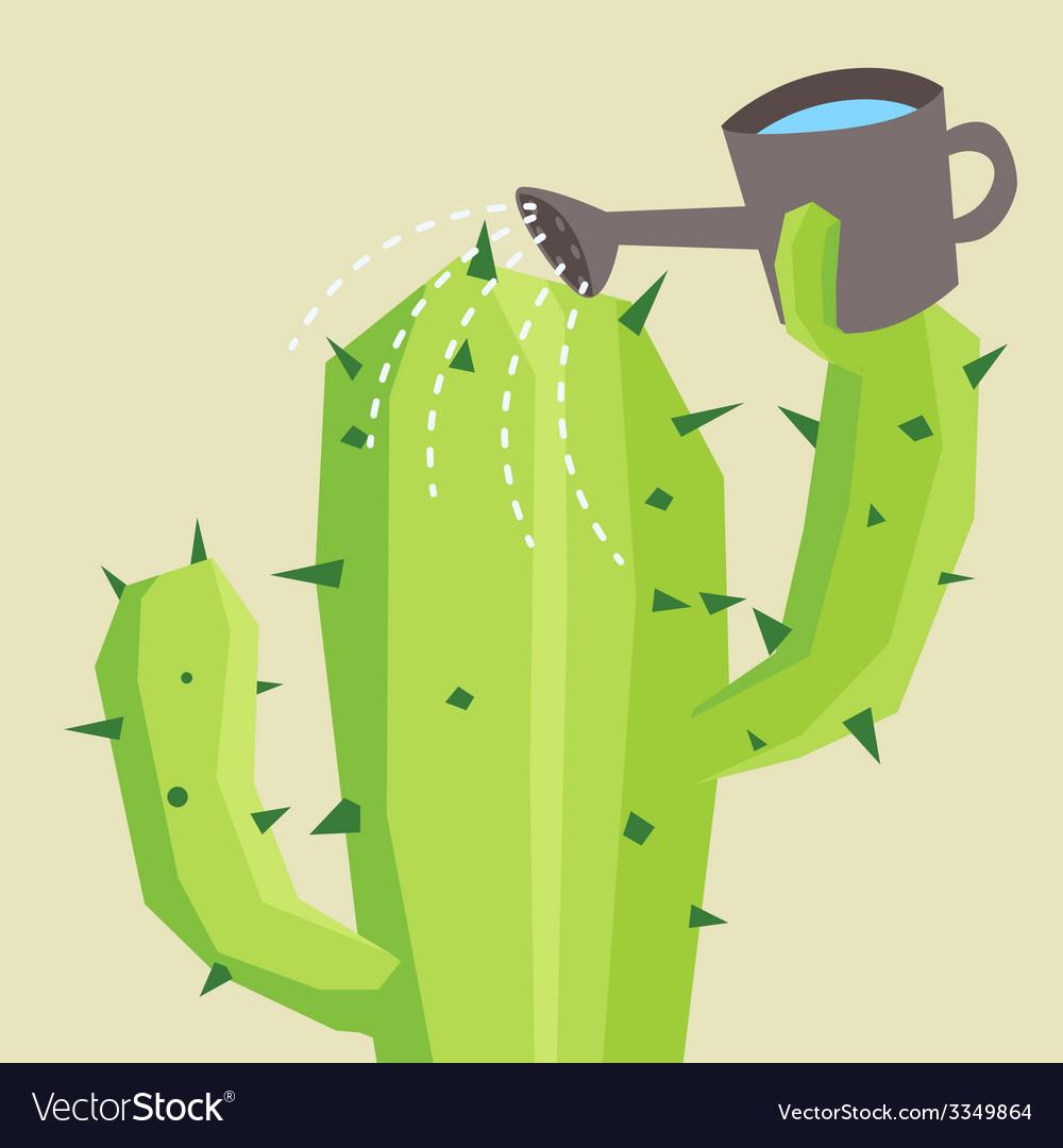 Cactus watering vector | Price: 3 Credit (USD $3)
