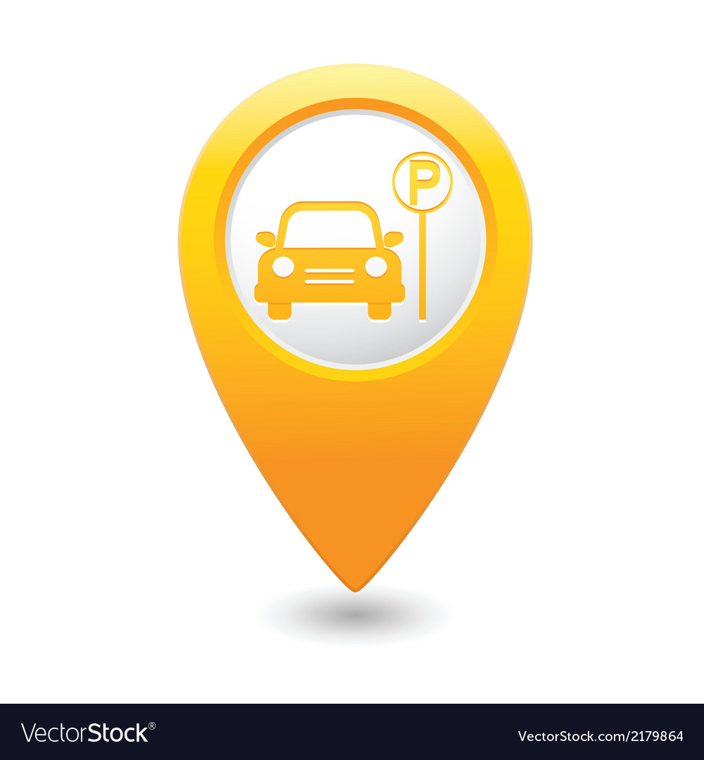 Car parking place icon on yellow pointer vector | Price: 1 Credit (USD $1)