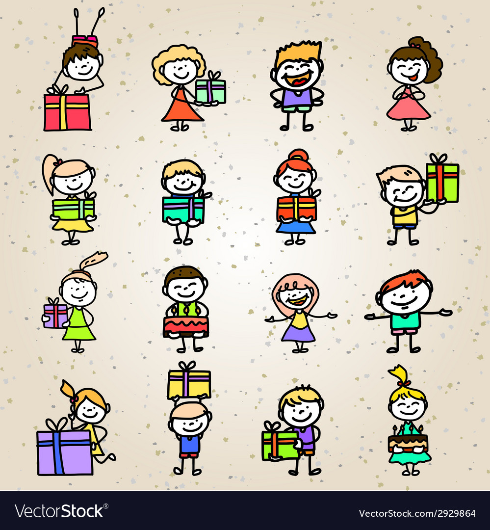 Hand drawing cartoon birthday vector | Price: 1 Credit (USD $1)