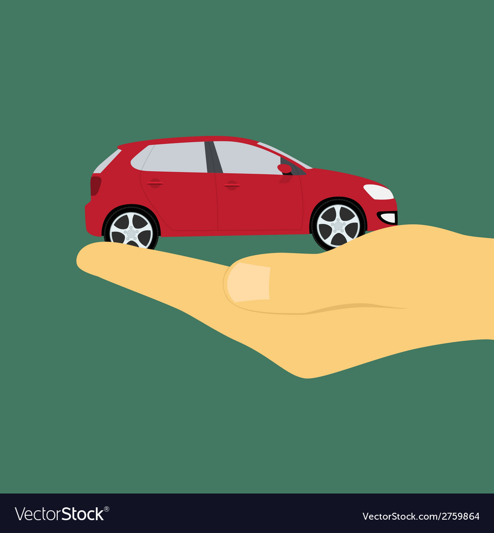 Hand holding car vector | Price: 1 Credit (USD $1)