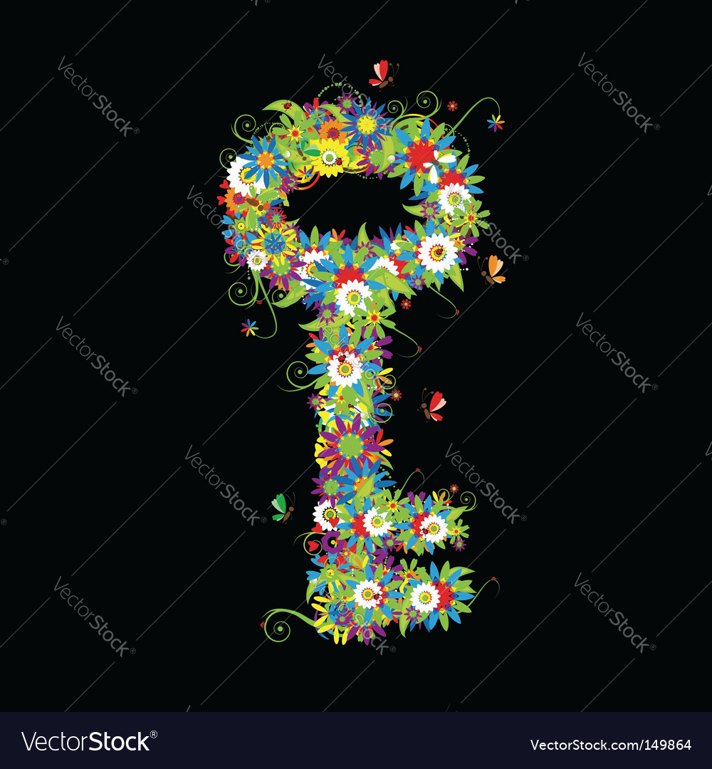 Key icon floral style vector | Price: 1 Credit (USD $1)