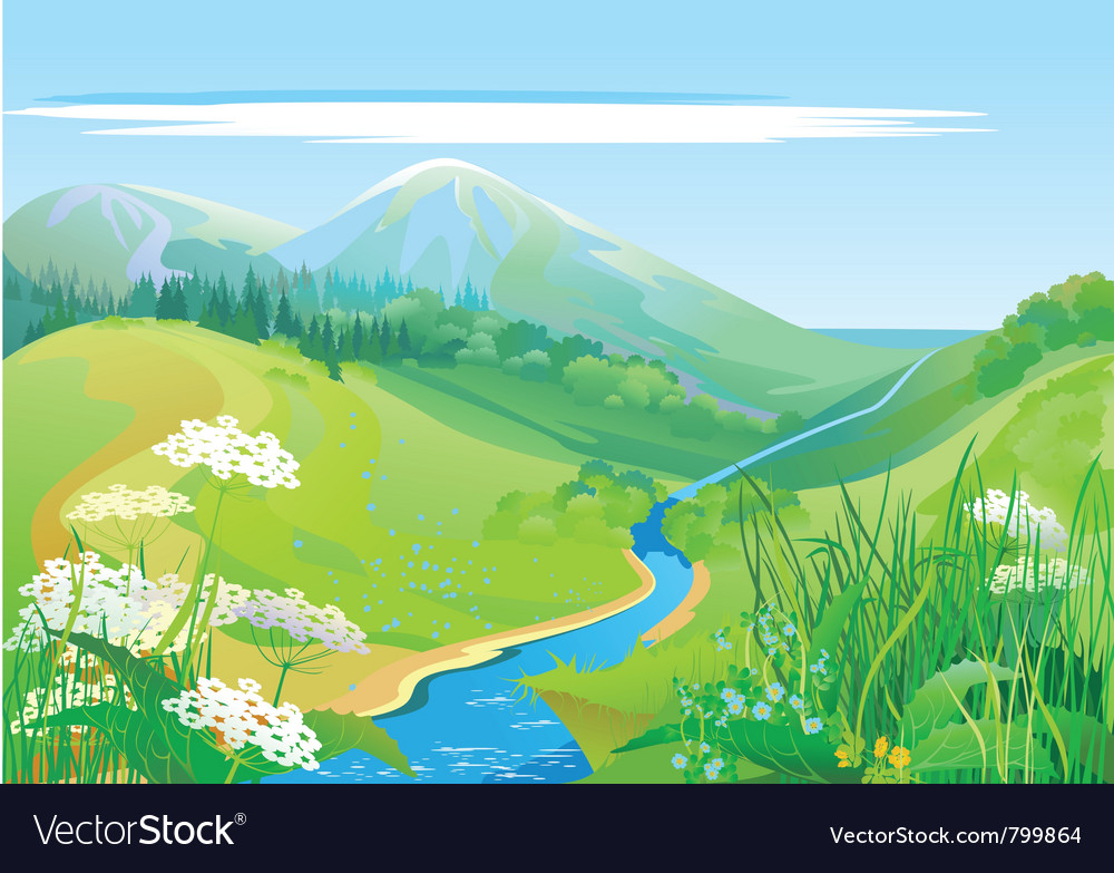 Lush grass country valley vector | Price: 1 Credit (USD $1)