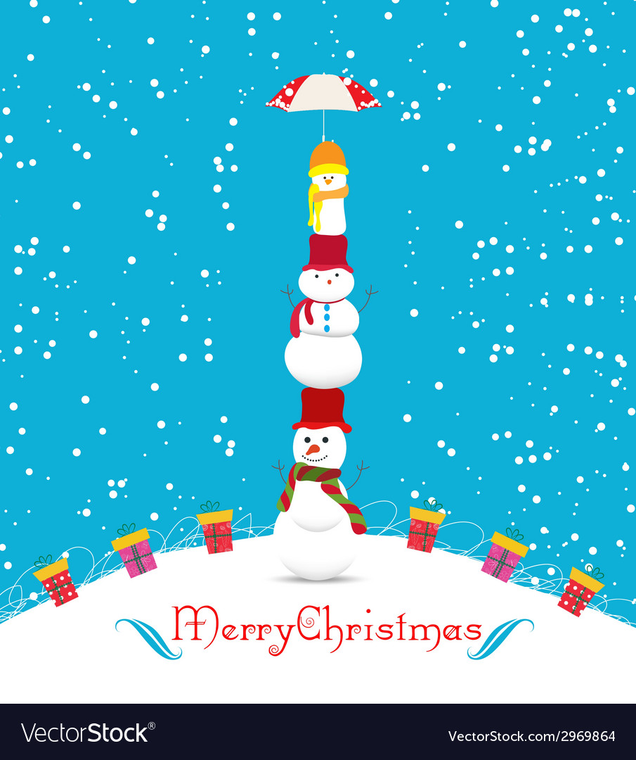 Merry christmas card with snowmans and umbrella vector   Price: 1 Credit (USD $1)