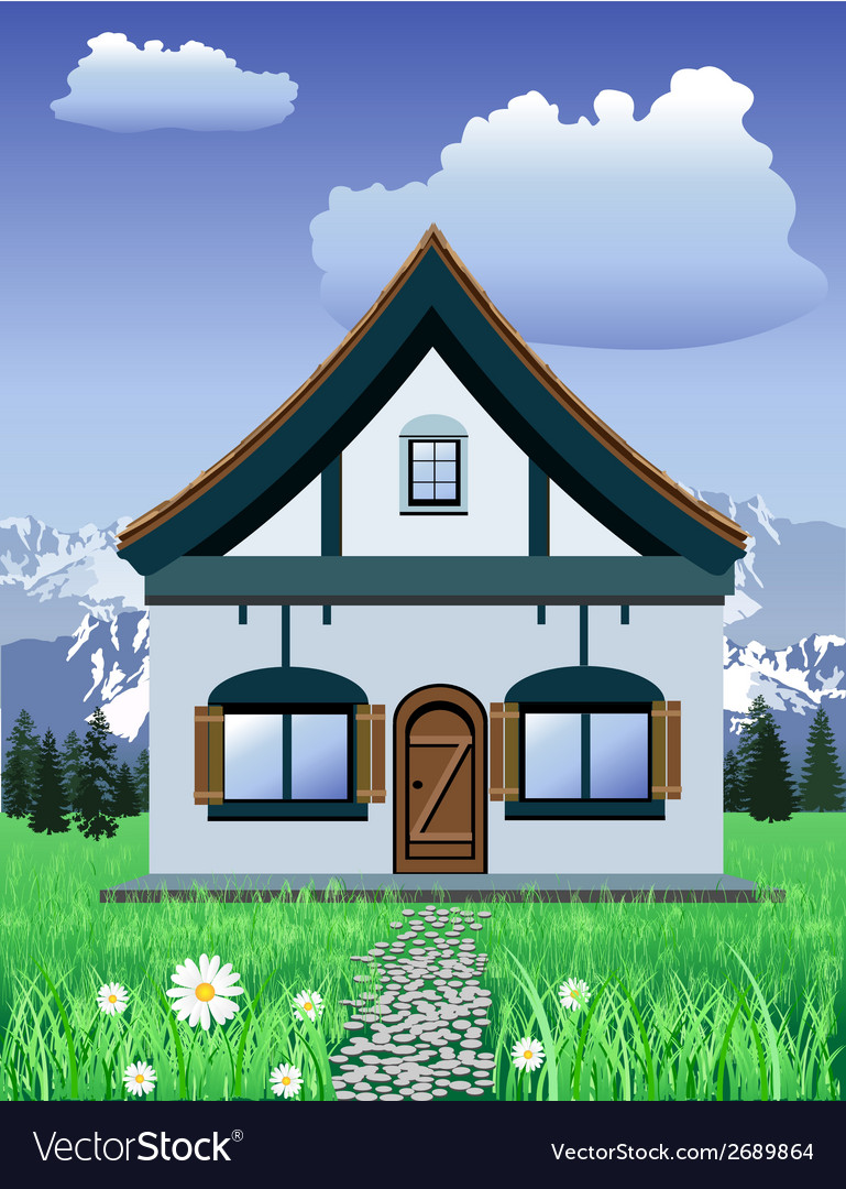 Mountain chalet vector