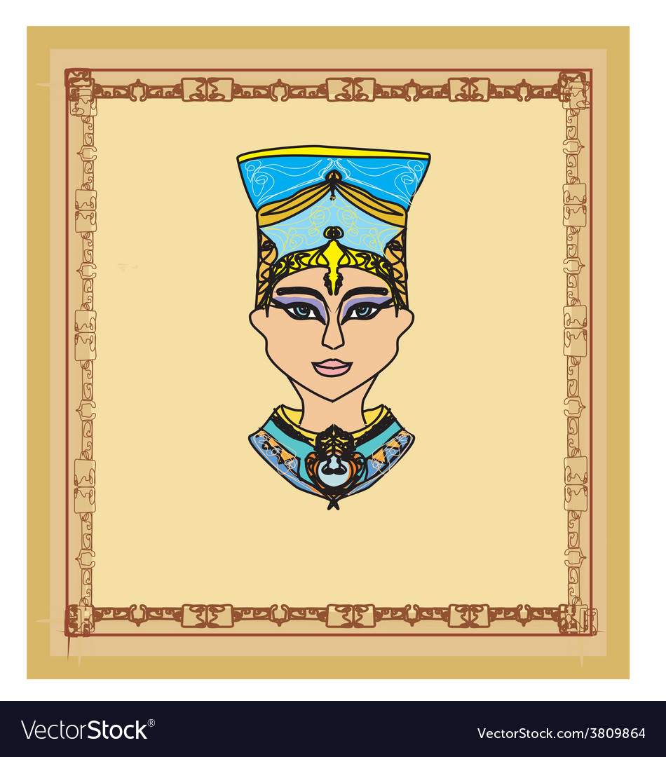 Old paper with egyptian queen cleopatra vector | Price: 1 Credit (USD $1)