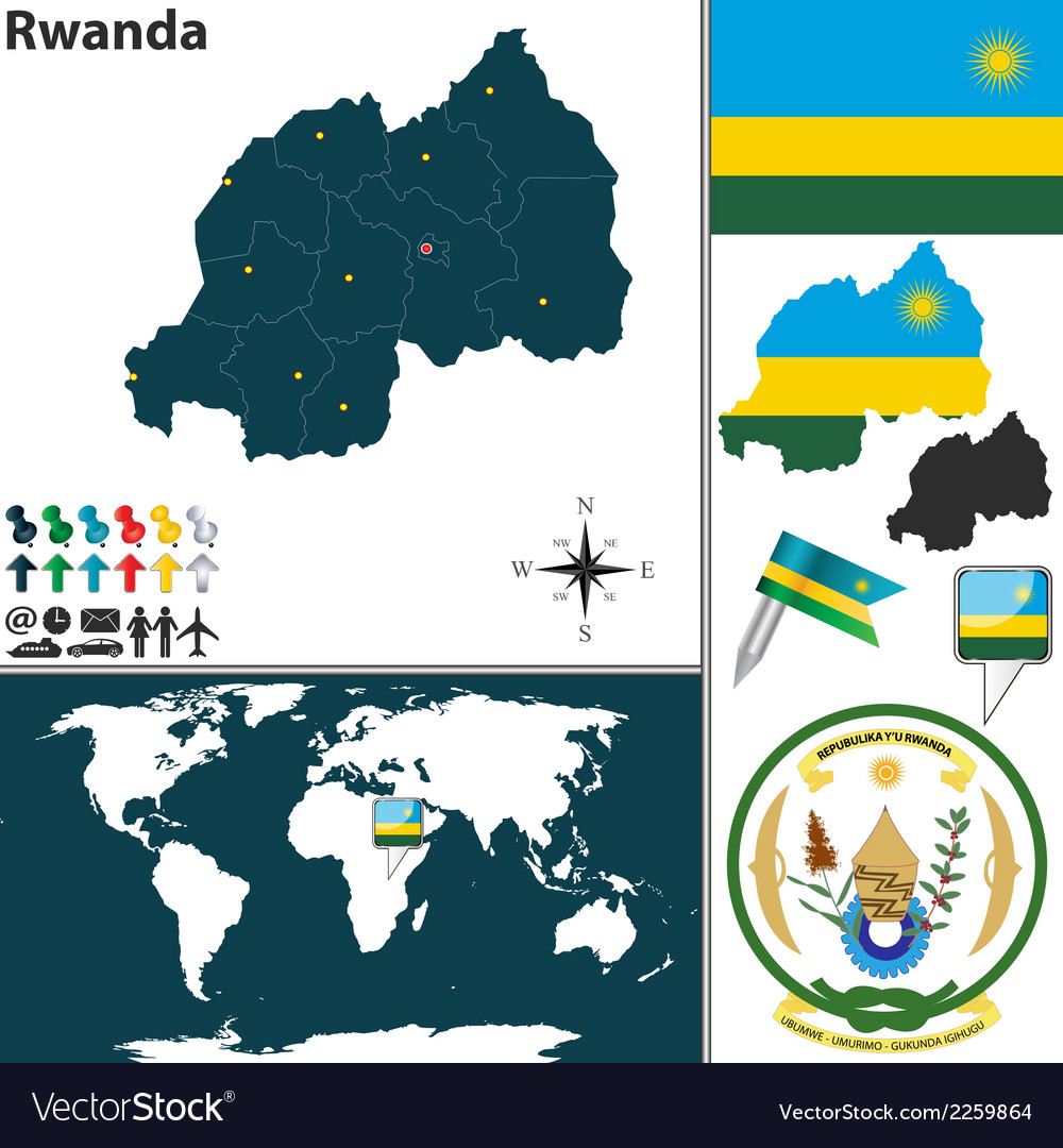 Rwanda map vector | Price: 1 Credit (USD $1)