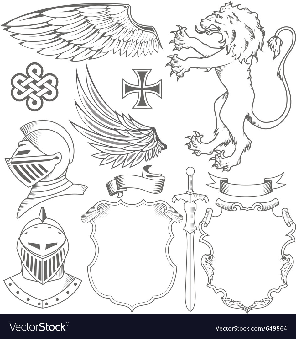 Set of knight heraldic elements vector | Price: 1 Credit (USD $1)
