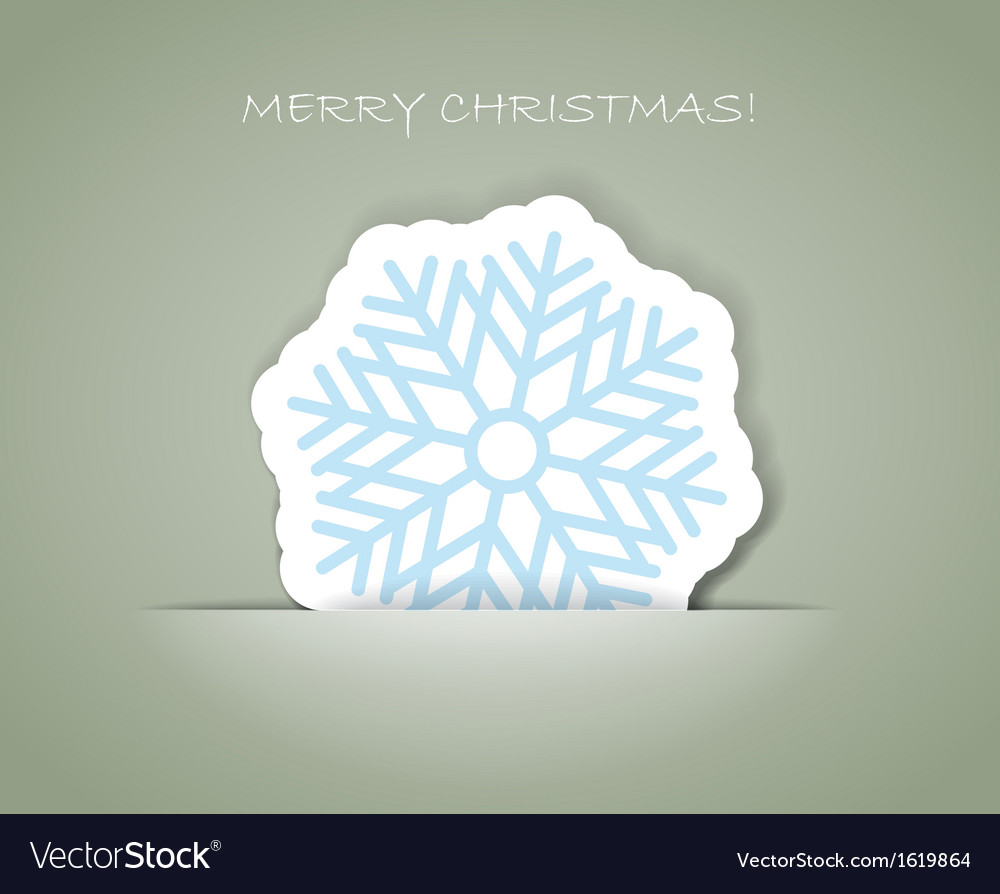 Snowflakechristmas greeting card with paper flake vector | Price: 1 Credit (USD $1)