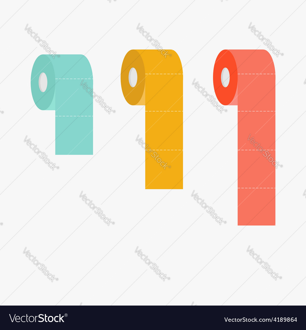 Toilet paper roll set dash line flat infographic vector | Price: 1 Credit (USD $1)