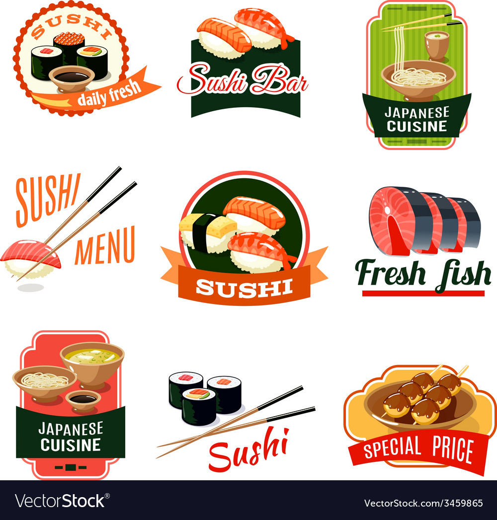 Asian food labels vector | Price: 1 Credit (USD $1)