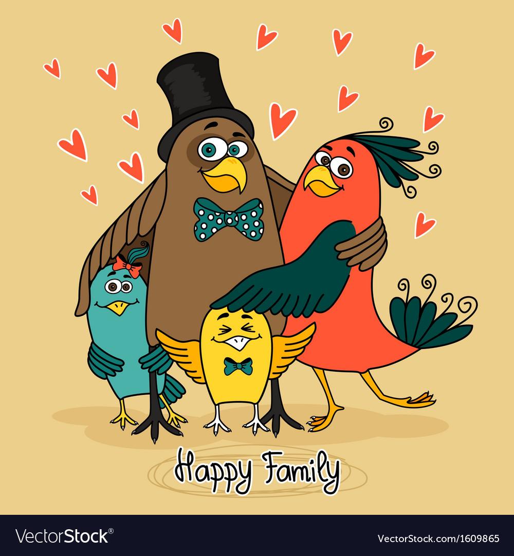Birds happy family vector | Price: 1 Credit (USD $1)
