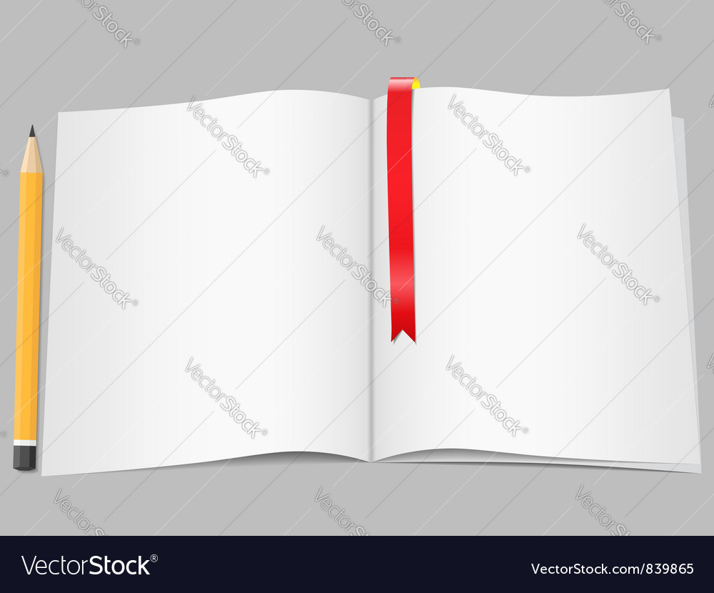 Blank pages with pencil vector | Price: 1 Credit (USD $1)