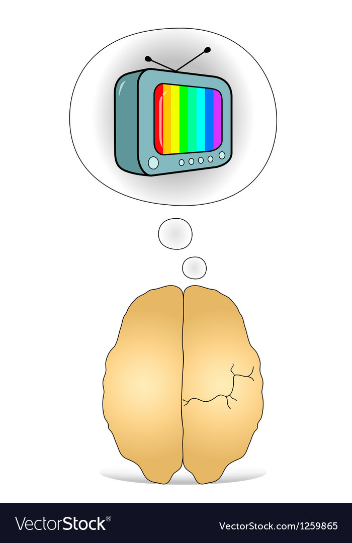 Brain to think about the tv vector | Price: 1 Credit (USD $1)