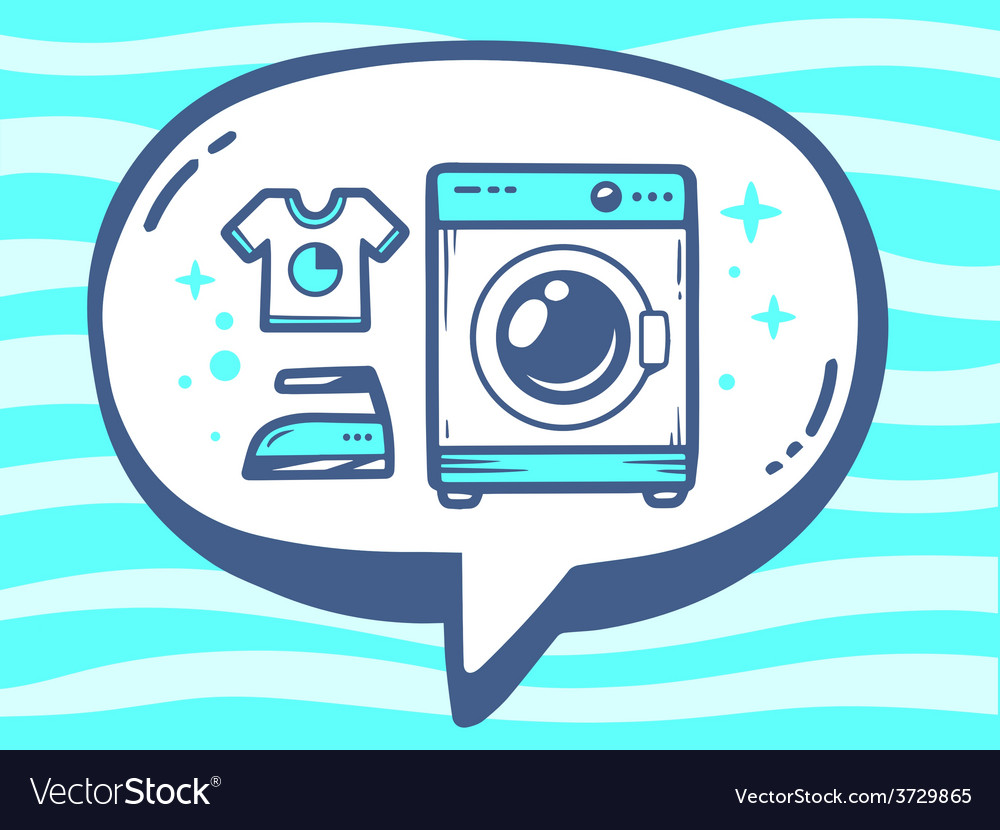 Bubble with icon of washing machine on bl vector | Price: 1 Credit (USD $1)