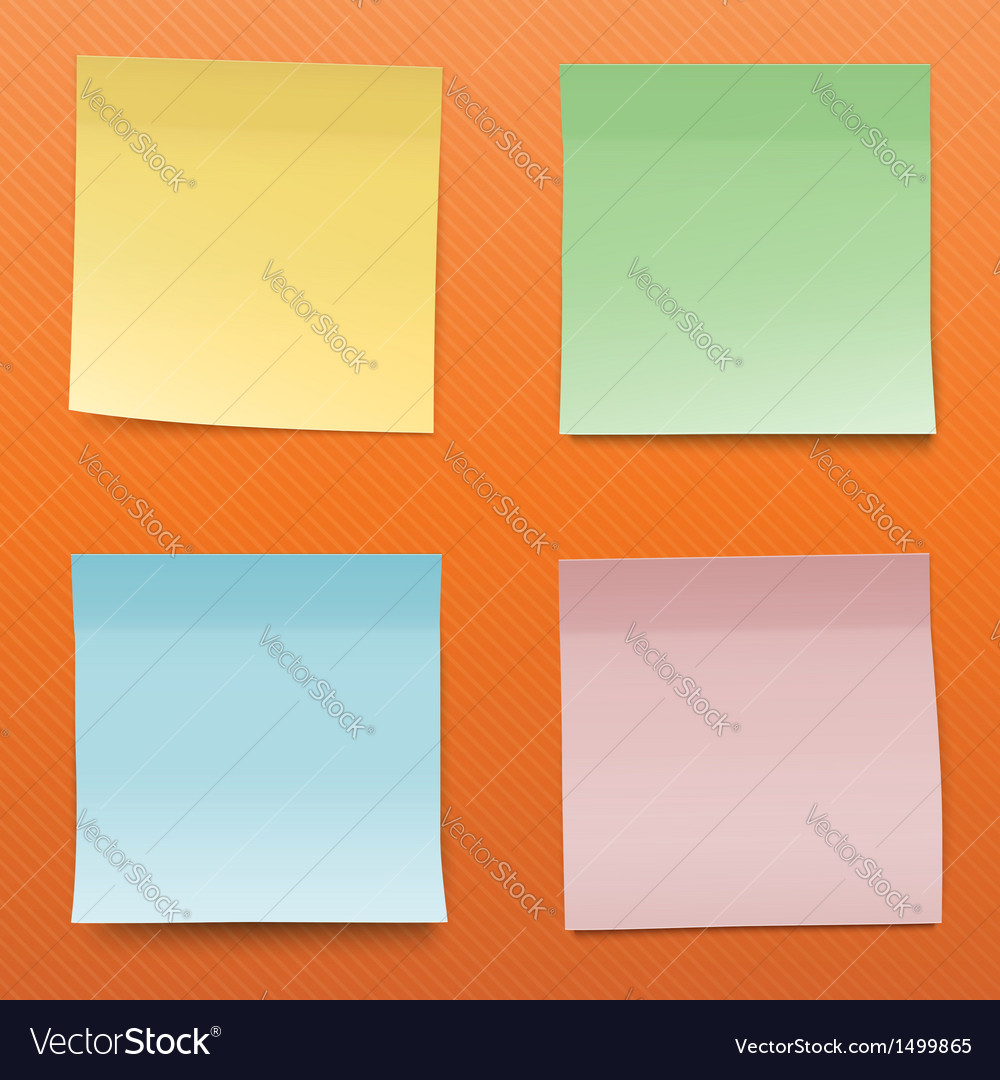 Colorful paper notes on striped orange background vector | Price: 1 Credit (USD $1)