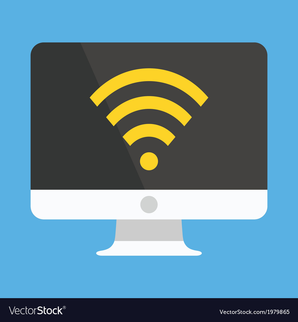 Computer display wifi icon vector | Price: 1 Credit (USD $1)