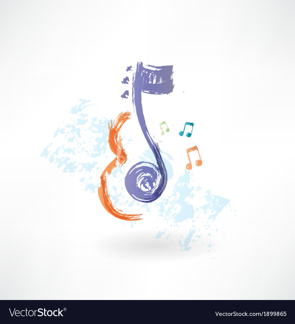 Contour violin and note grunge icon vector | Price: 1 Credit (USD $1)