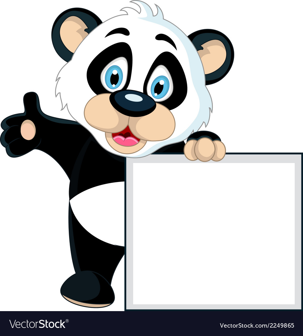 Cute panda cartoon holding blank sign vector | Price: 1 Credit (USD $1)
