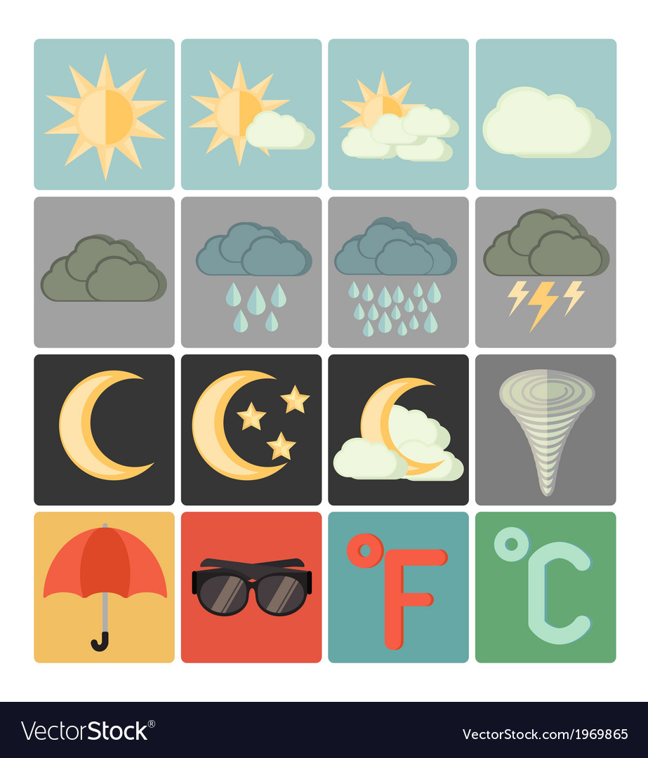Flat icons weather vector | Price: 1 Credit (USD $1)