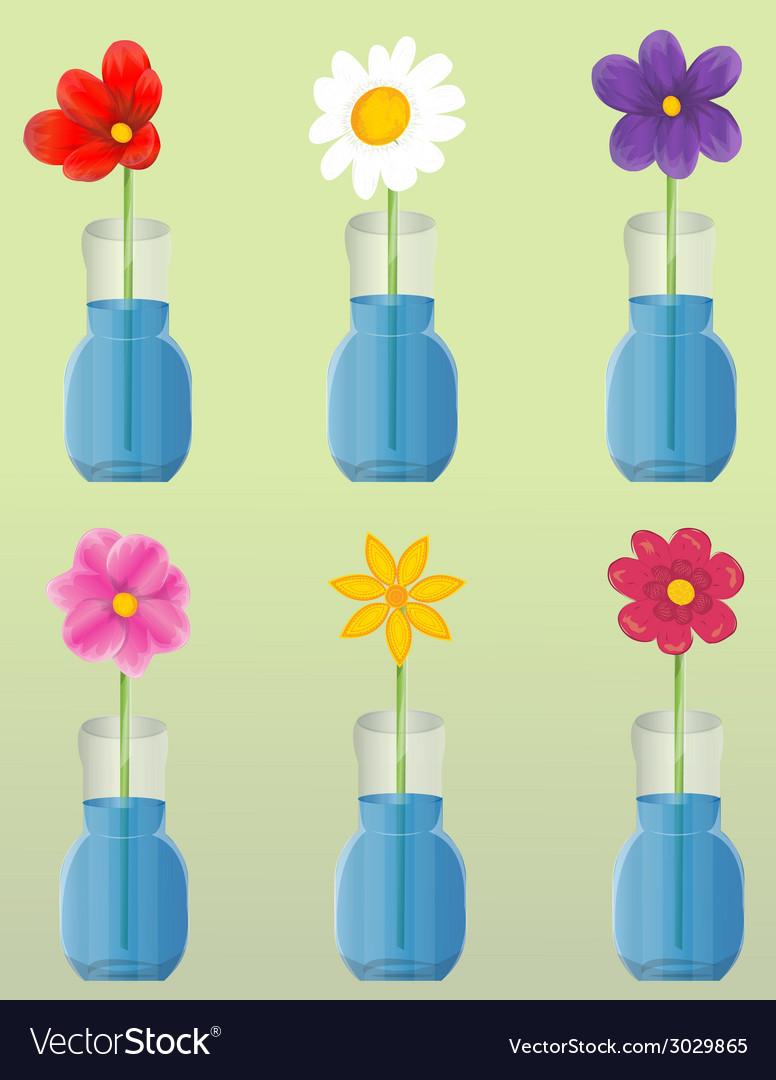 Flowers in vase set vector | Price: 1 Credit (USD $1)