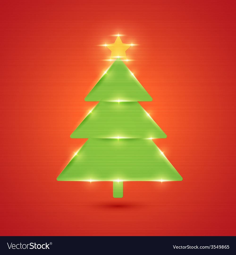 Glowing christmas tree new year and merry vector   Price: 1 Credit (USD $1)