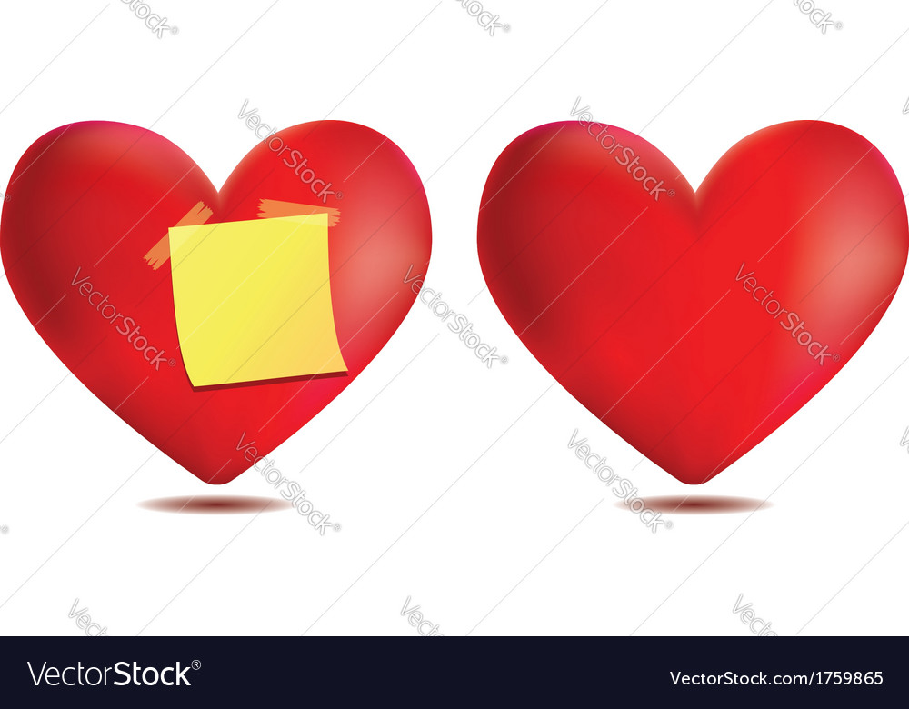 Heart with sticky note vector | Price: 1 Credit (USD $1)